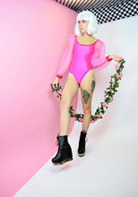 HOT PINK NOVELTY RHINESTONE BODYSUIT