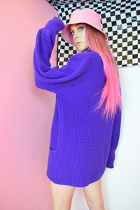80S PURPLE CARDIGAN - M/L