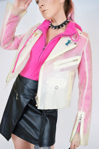 BUBBLEGUM PINK ANGORA HAIR ZIP UP - SMALL