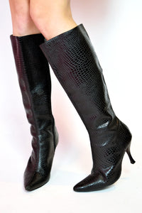 "90S ""SNAKE-SKIN"" KNEE HIGH BOOTS"