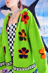 RAINBOW FLOWER POWER SLIME GREEN HOODIE - M/L