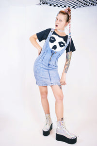 80s DENIM PINAFORE MINI DRESS - XS