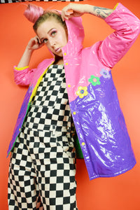 90s VINYL KIDCORE COLOR BLOCK JACKET - SMALL