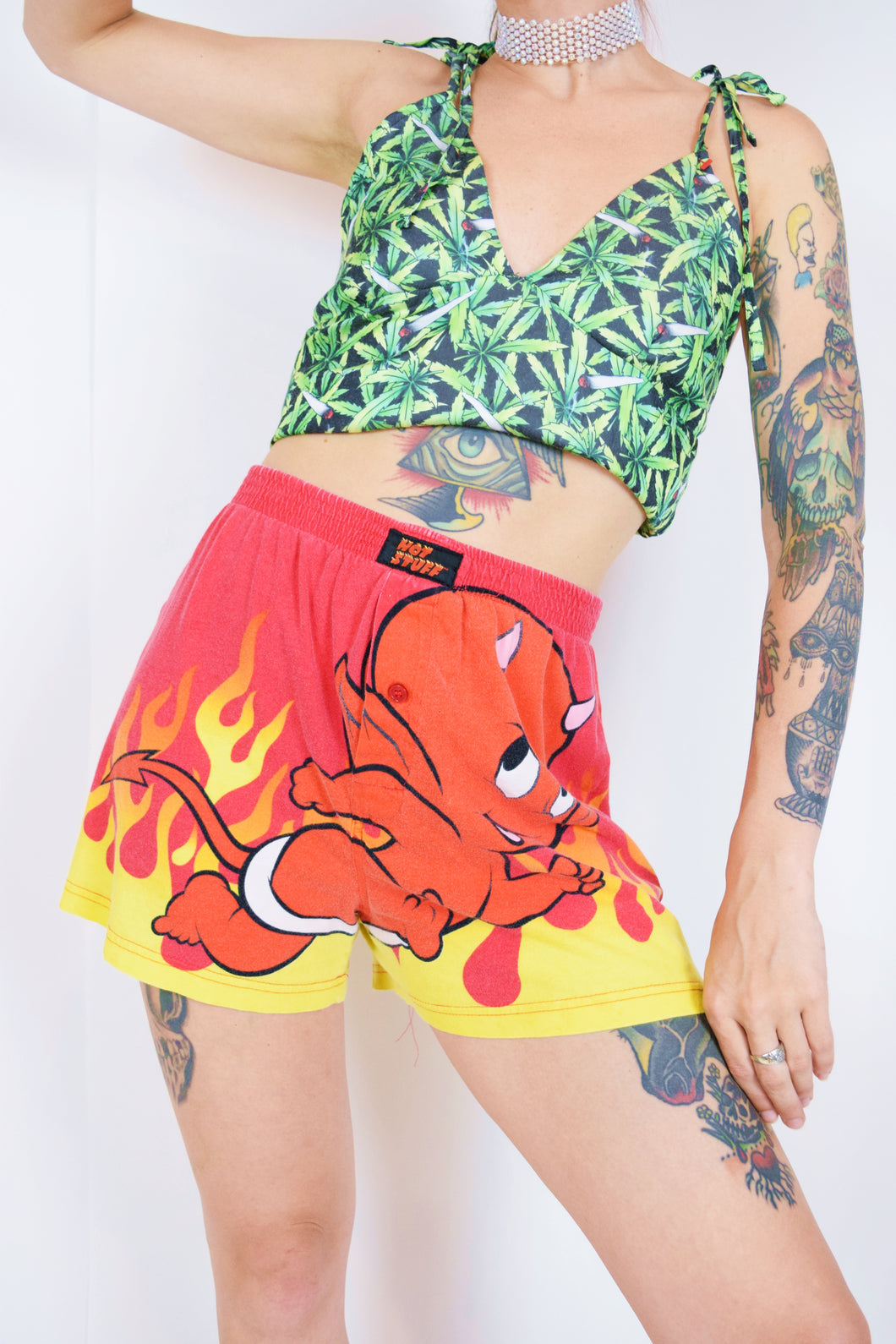 Y2K HOT STUFF NOVELTY SHORTS - S/M