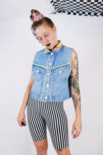 90s DENIM N LIME VEST - M