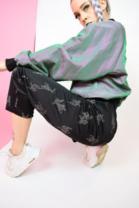 BLACK SATIN DRAGON PANTS - MEDIUM