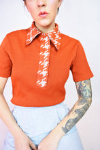 BURT ORANGE HOUNDSTOOTH TOP