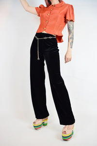 90s EXPRESS VELVET TROUSERS - XS/SMALL