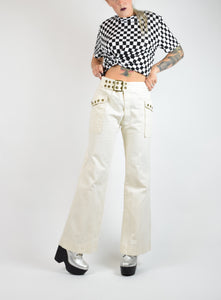 60s White Crisp Sailor Wide Leg Gold Grommet Pants