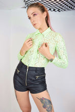 LIME GREEN LACE N GLITTER BLOUSE - XS/S