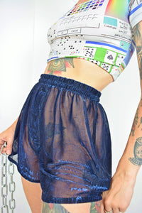 Y2K CYBER BLUE SHEER SHORTS - S/M