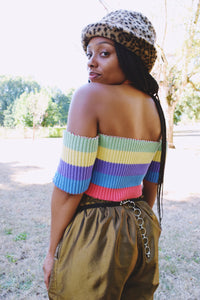 90s RAINBOW CROPPED SWEATER - S/M
