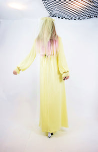 60s GROOVY BOHEMIAN YELLOW WEDDING DRESS - SMALL