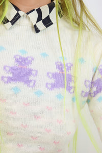 80s KITSCH BEAR JUMPER - XS/S
