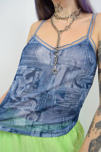 Y2K FAUX DENIM CAMI - M/L