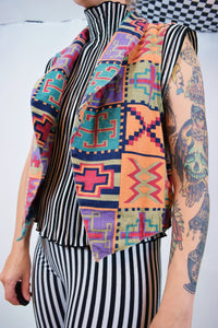 90s COLORFUL GEO VEST - M