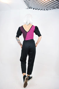 80s MAGENTA PLAYSUIT - SMALL