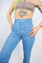 70s TEAL WESTERN DENIM PANTS - 25""