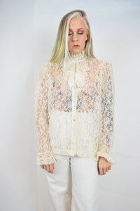 70s VICTORIAN GOTH BLOUSE - M