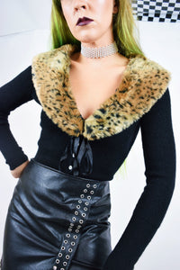 LEOPARD PIN UP CARDIGAN - XS/SMALL