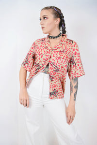 90s GEO SAFARI BLOUSE - MEDIUM