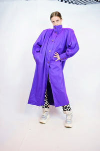 80s HOLOGRAPHIC PURPLE TRENCH - LARGE