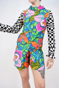 60s PSYCHEDELIC HIBISCUS ROMPER - SMALL