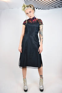 50s GOTH CAMISOLE SLIP DRESS - S/M
