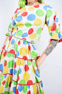 50s PRIMARY FEMME CLOWN MIDI DRESS - S/M