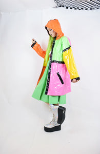 80s TECHNICOLOR RAIN JACKET - L
