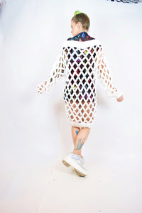 90s MILKY WEB SWEATER DRESS - LARGE