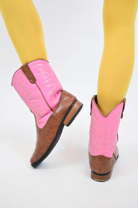 PINK N BROWN COWGERL BOOTS - 7