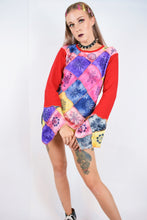 90s PATCHWORK BELL SLEEVE BLOUSE - M