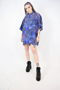 90s ABSTRACT SILK BLOUSE - XL
