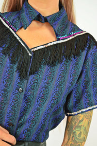 80s RHINESTONE COWGERL BLOUSE - M