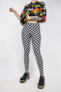 CHECKERBOARD SPANDEX LEGGINGS - SMALL