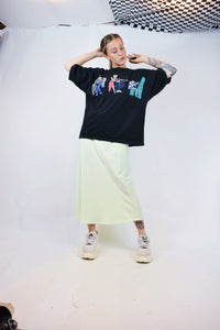 90s MINT GREEN SILK MIDI SKIRT - LARGE/XL
