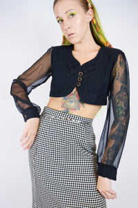 Y2K SHEER CYBER WITCH BLOUSE - SMALL
