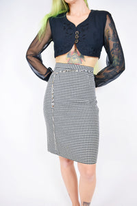 TWEED HOUNDS TOOTH PENCIL SKIRT - 26""