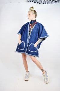 DISTRESSED DENIM PONCHO - XL