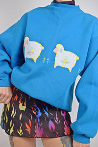 80s KITSCH SHEEP JUMPER - LARGE