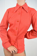 60s RED AND WHITE BLOCKED BLOUSE - S/M
