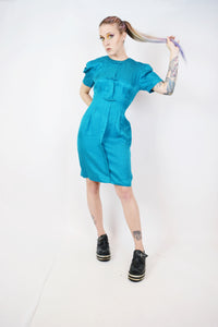 80s TEAL SILK COW MINI - SMALL