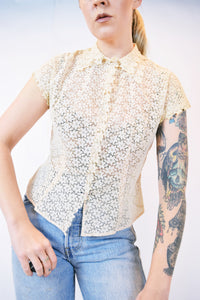 20s CREAM EYELET BLOUSE - XS/SMALL