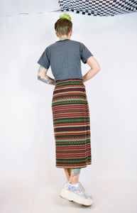 90s WOOL AZTEC MAXI SKIRT - 28""