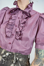 70s LAVENDER RUFFLE BLOUSE - SMALL