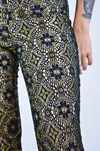 DISCO GOLD EYELET FLARES - SMALL