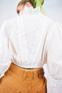 70s EDWARDIAN MILKY BLOUSE - MEDIUM