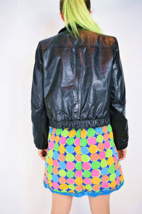 70s LEATHER BOMBER JACKET - XS/S