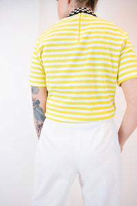 60s YELLOW STRIPED MOCKNECK - M